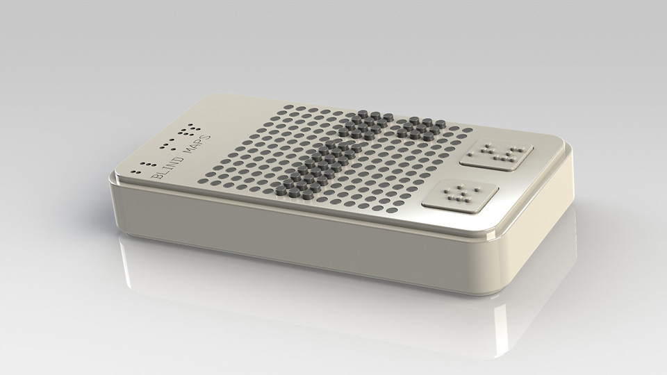 3D rendered view of the first interface conept showing the surface the braile like pins to make a route feelable